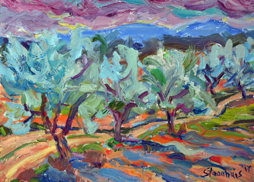 Olive Trees in the Wind at Valcros