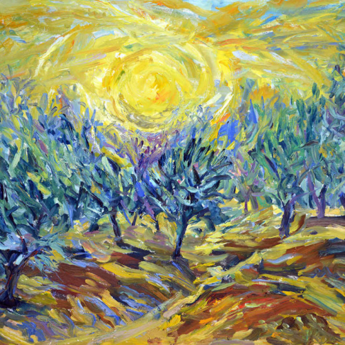 Sunset in the Olive Grove - square