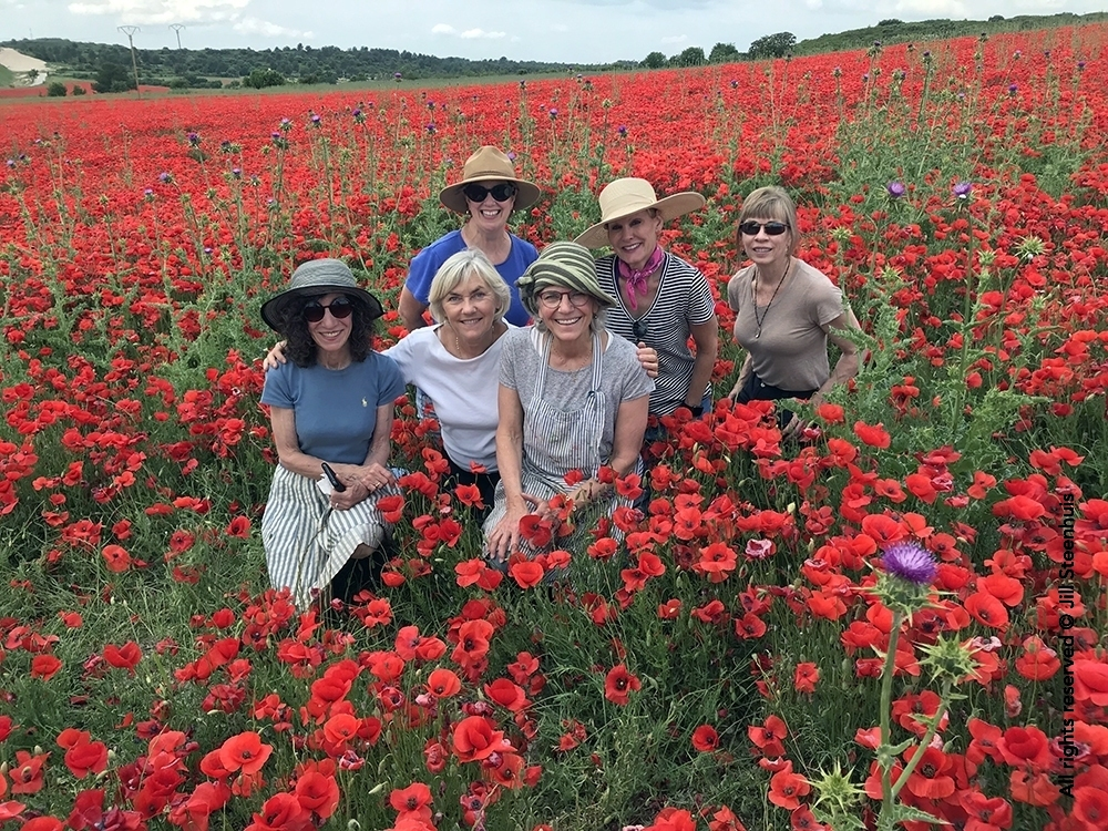 Group of oil painters in poppy field