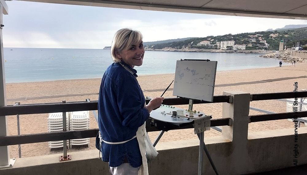 Oil painter at the beach in Cassis