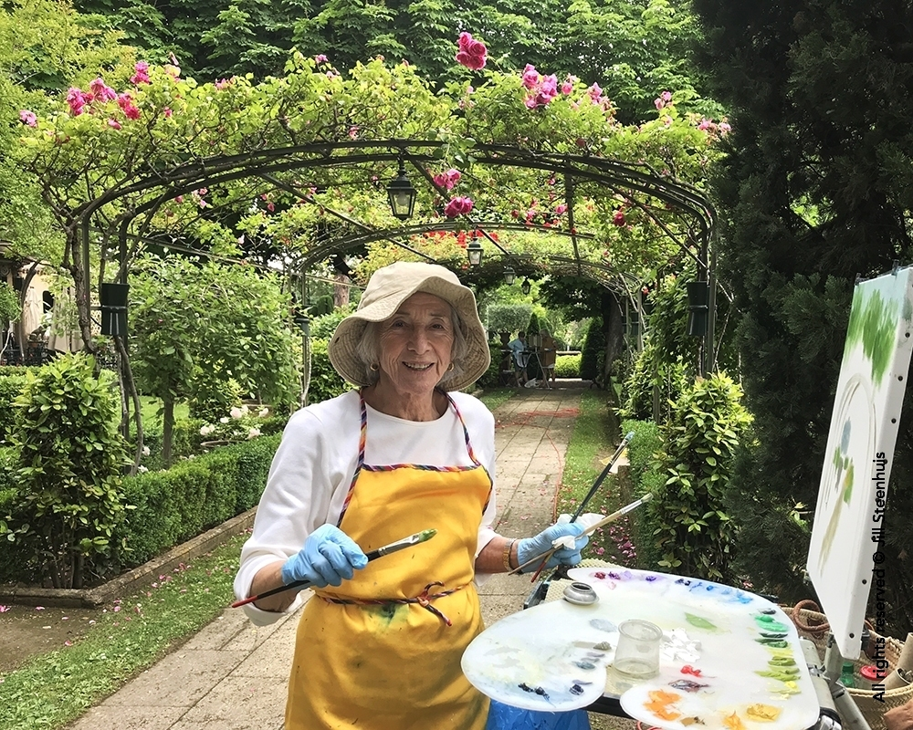 Oil painting in the gardens of Hotel Le Pigonnet