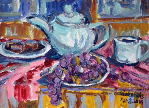 Teapot, Grapes & Brownies