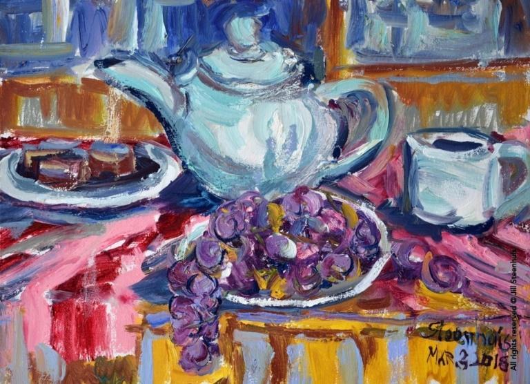 Teapot, Grapes & Brownies