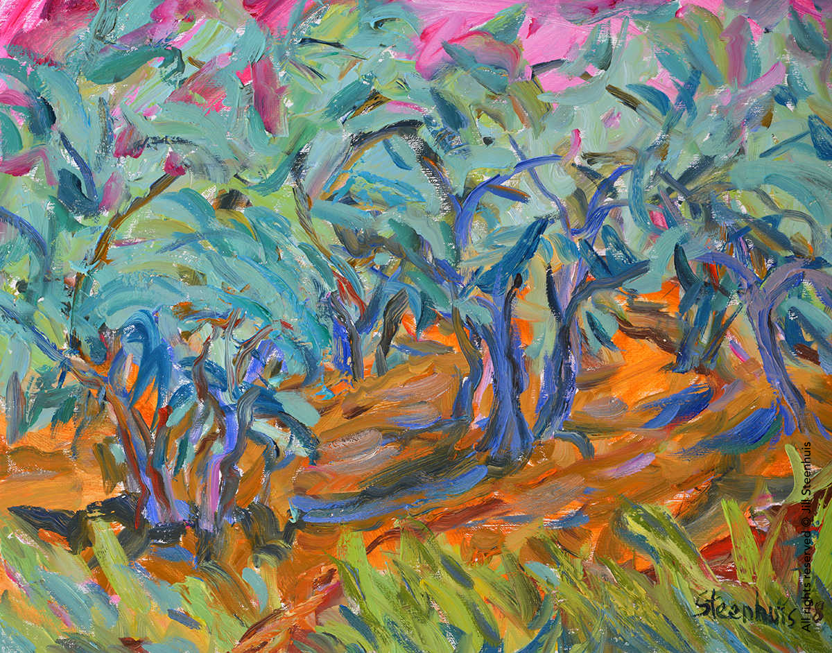 e14d2b8f7d19e4 Olive Trees Under Pink Sky - Art in Provence