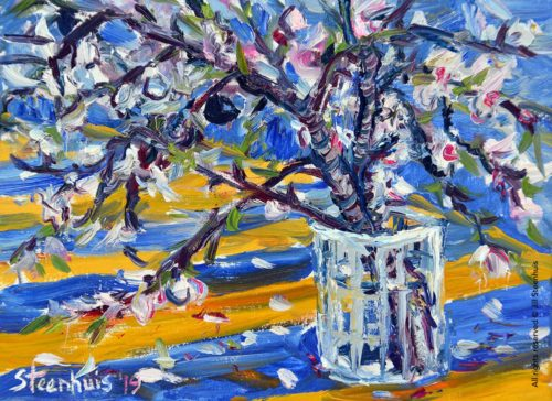 Almond Branches in Glass Vase
