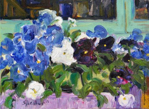 Pansies in Purple Planter in Window