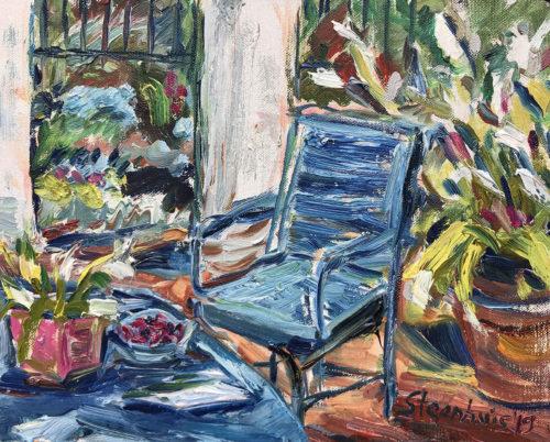 Blue Chair & Raspberries Waiting
