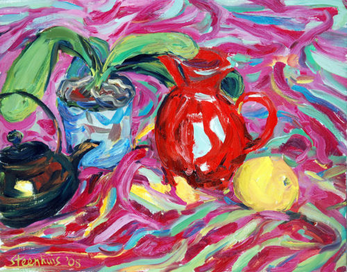 Red Pitcher, Apple, Orchid & Teapot on Stripes