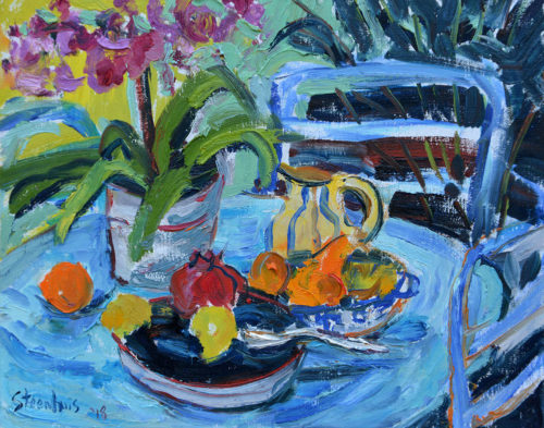 Orchids & Fruit on Blue Table