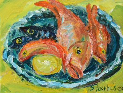Fish in Blue/Green Platter on Yellow